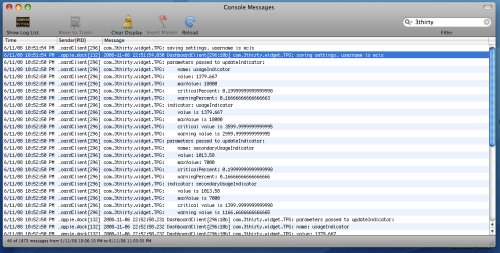 Example of logfile entries in console app